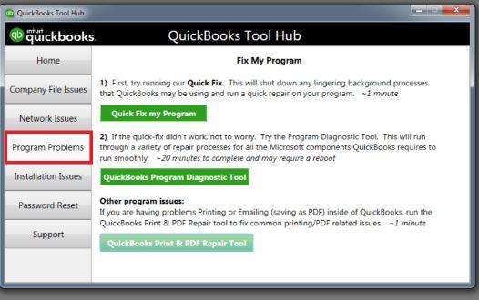Quickbooks Tool Hub: Program Problem